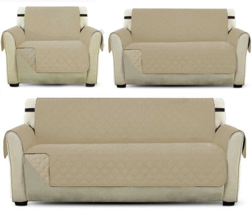 WITH STRAP Sofa Cover REVERSIBLE Quilted Furniture Protector Throw Waterproof