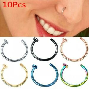 Details about  /10Pc Nose Ring Open  Lip Body Piercing clip on Studs Stainless Steel Jewelry