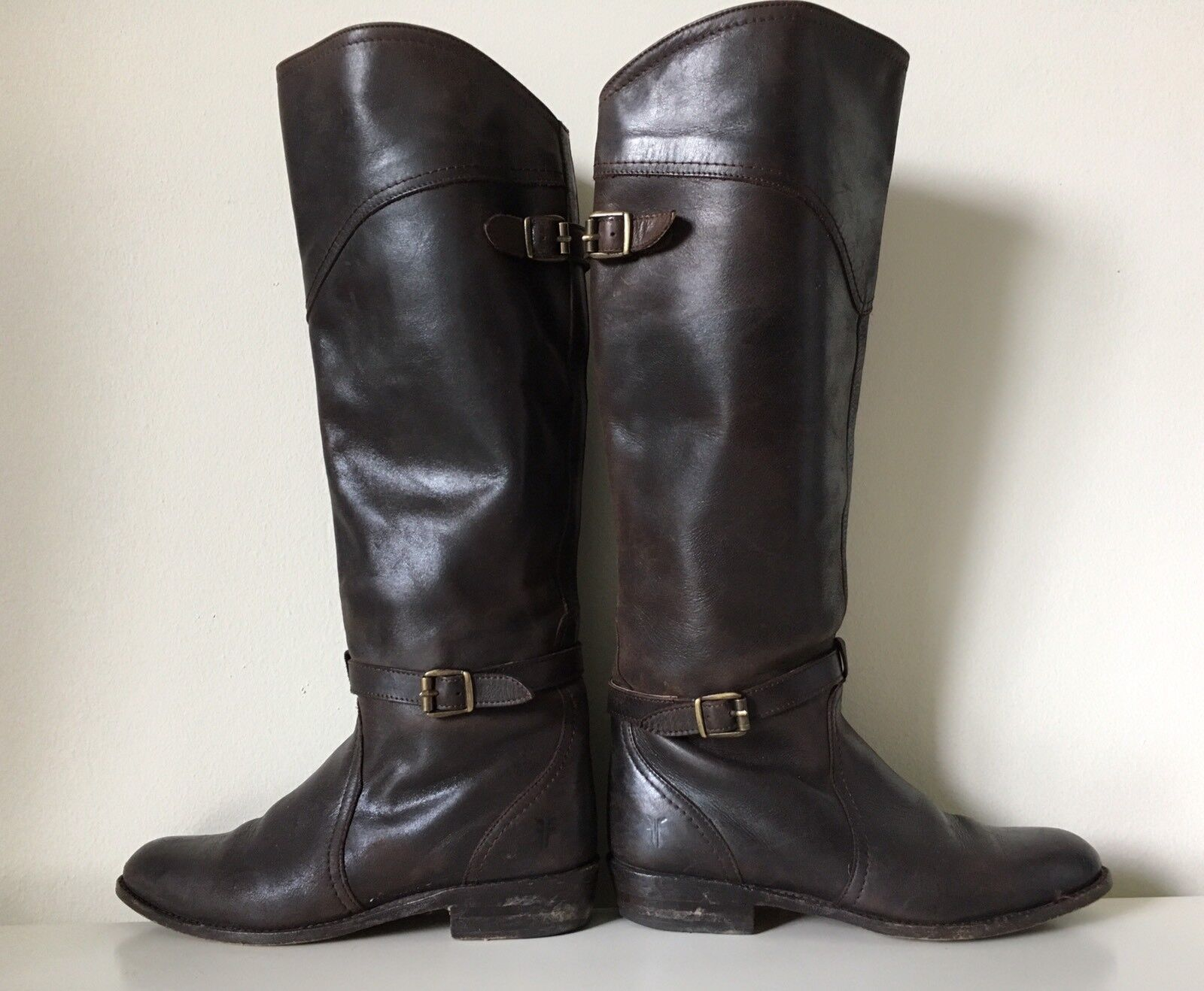 498 FRYE Dorado Braun Leder Buckle Motorcycle Knee High Tall Riding Boot Sz 6