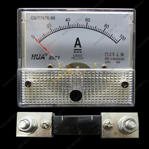DC-100A-Analog-Ammeter-Panel-AMP-Current-Meter-85C1-Gauge-0-100A-DC-Shunt