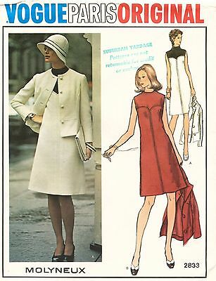 1960's VTG VOGUE PARIS ORIGINAL Dress&Jacket Molyneux Pattern 2833 12