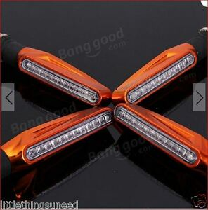 MOTO-x-4-naranja-9-LED-Stick-INTERMITENTES-cortar-Trike-STREETFIGHTER