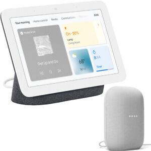 Google Nest Hub Display with Assistant, Charcoal (2nd Gen) + Nest Smart Speaker