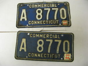 1966-66-Connecticut-CT-License-Plate-Commercial-A-8770-Pair