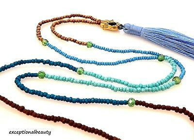 Turquoise Blue Brown Glass Seed Bead Beaded Hamsa Tassel Dangle Long Necklace