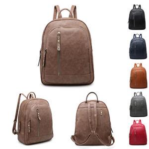 Girls-Large-School-Backpack-Faux-Leather-Zips-Rucksack-Ladies-Handbag-MA36531