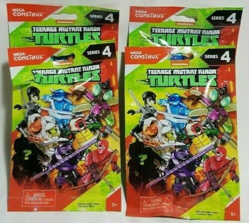 4 X Mega Construx Teenage Mutant Ninja Turtles Series 4 Blind Pack Fast Shipping