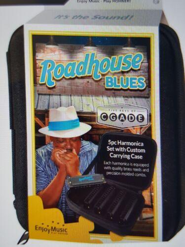 Hohner Roadhouse Blues 5 Harmonica Pack in Zippered Case Keys of G D C A E