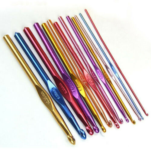 2mm-10mm Aluminium Crochet Needles Hooks Crafts Handle Knitting Weave Set Code
