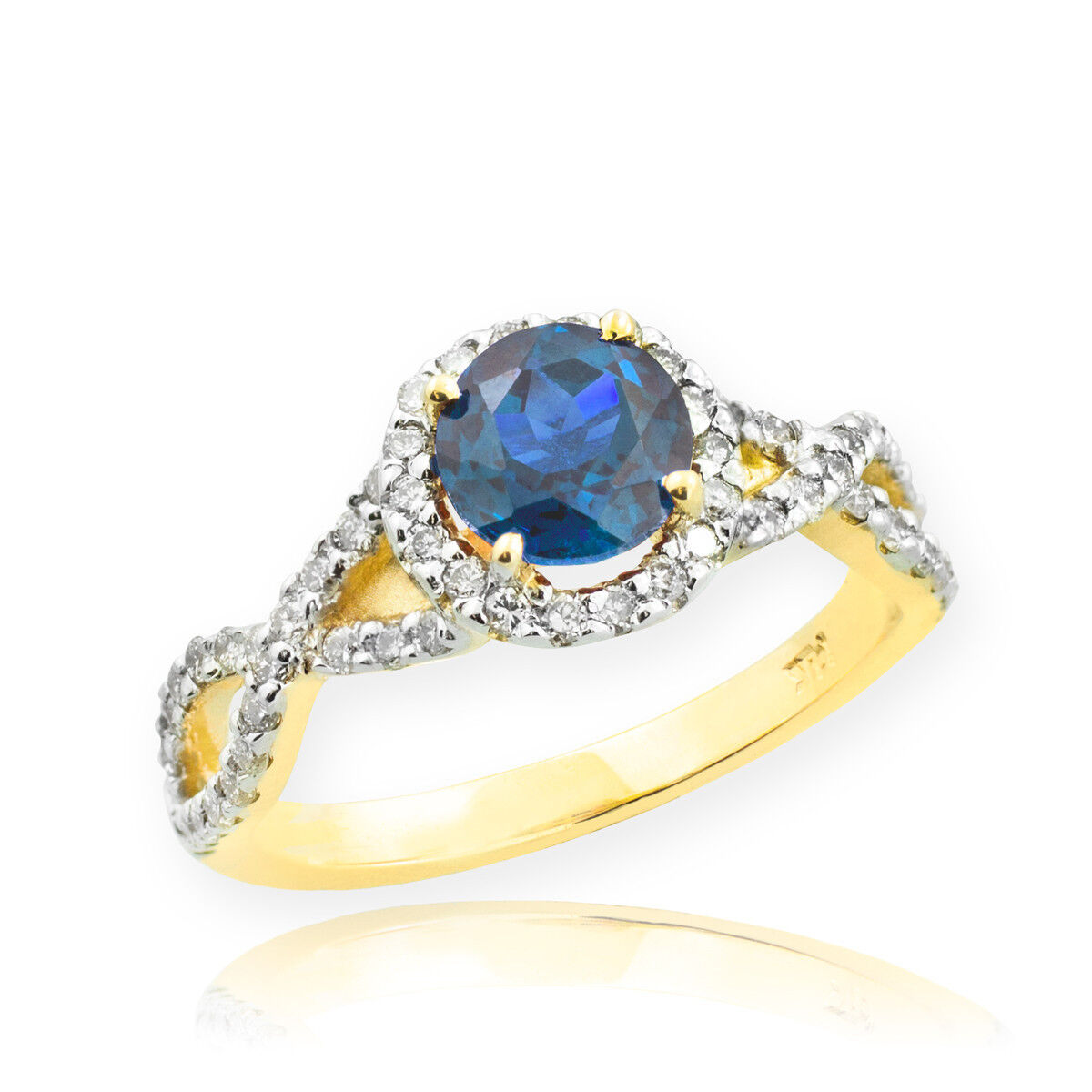 gold bluee Topaz Birthstone Infinity Ring with Diamonds