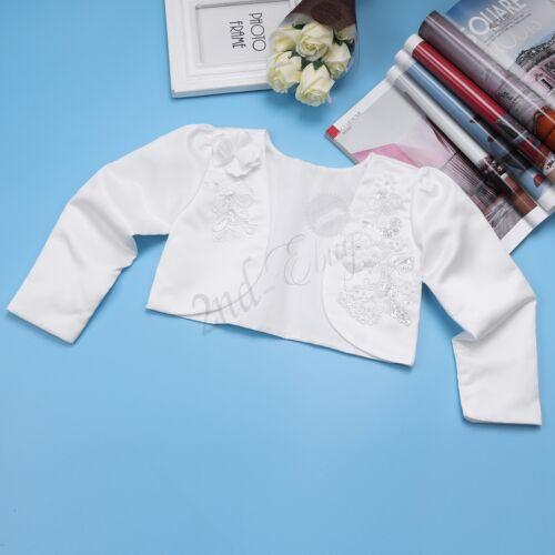 3D Flower White Bolero Shrug Short Cardigan Jacket for Bridesmaids Girls Parties