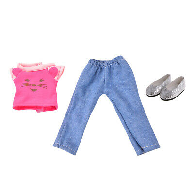 3 Pieces T-shirt Pants Sequin Shoes Suit for American Girl 14inch Doll Decor