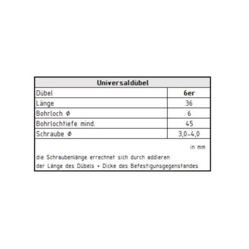 100 Profi Universaldübel Ø 6 mm m Kragen Mehrzweck Dübel Allzweckdübel grau