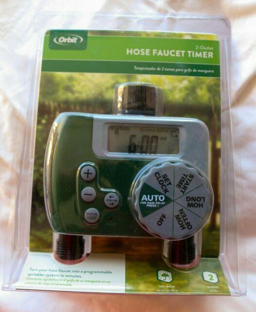 Orbit 58910 Programmable Hose Faucet Timer 2 Outlet Green