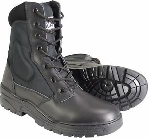 Leather-Black-Army-Patrol-Combat-Boots-Tactical-Cadet-Security-Police-922