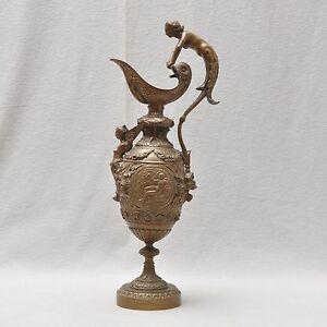Grosser-Bronze-Krug-Schale-Historismus-frueher-Jugendstil-50-cm-hoch-Fabelwesen