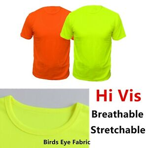 Hi-Vis-Safety-T-Shirts-High-Visibility-Fast-Drying-Work-Sports-Wear-Short-Sleeve