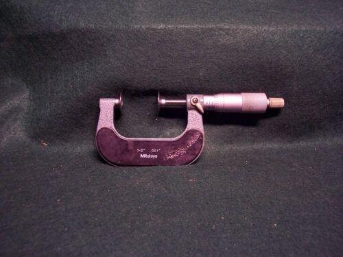 Lock MITUTOYO 1-2 Inch DISK-FLANGE MICROMETER NO 123-126 Ratchet.