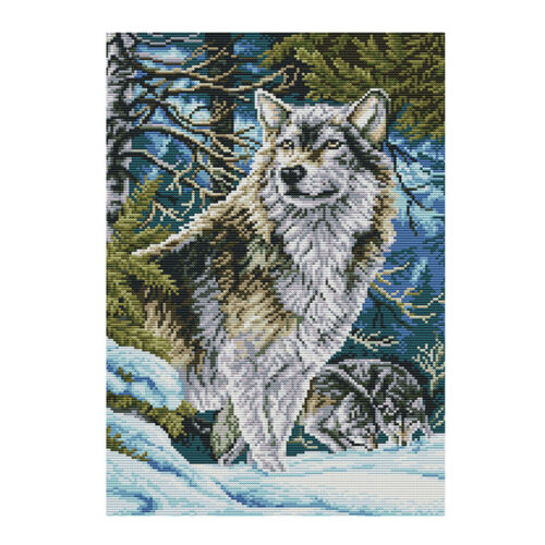 Wolfsmuster   1 Satz gestempelte Kreuzstich Kits Vorgedruckte DIY Handarbeiten