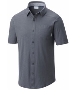 Columbia Men/'s Lookout Point Short Sleeve Knit Shirt S-M Button Down Polo Grey
