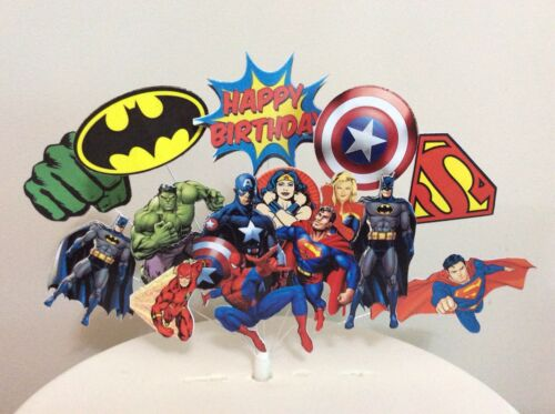 Superhero Spider man Hulk Batman Captain America Birthday cake topper display