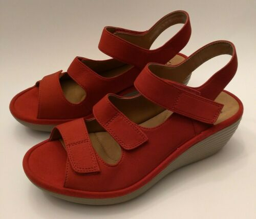 Clarks Collection Soft Cushion Red Suede Platform