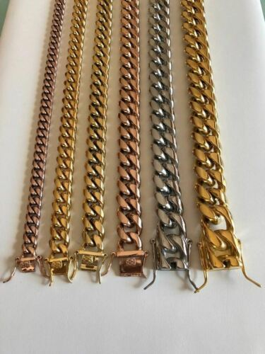 Miami Cuban Link Bracelet 14k 18k Yellow Rose White Gold Plated Stainless Steel