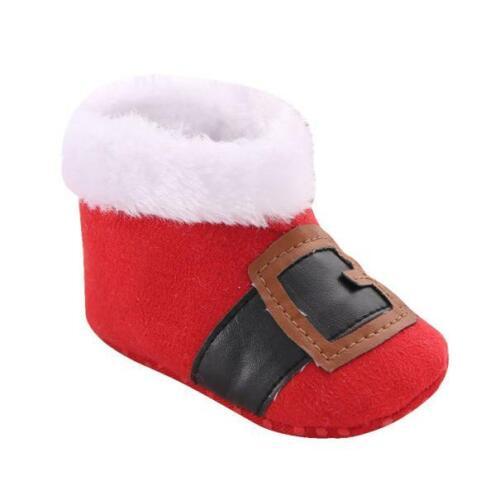 Christmas Newborn Baby Boy Girl Snow Boots Christening Prewalker Crib Shoes ay