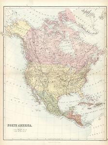 1873 North America Original map