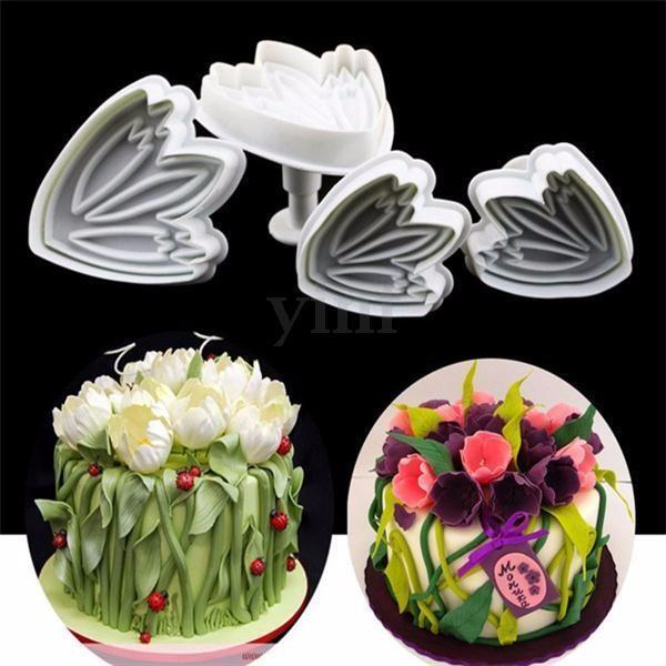4Pcs Tulip Flower Fondant Cake Decorating Mould Sugarcraft Plunger Cutter Mold