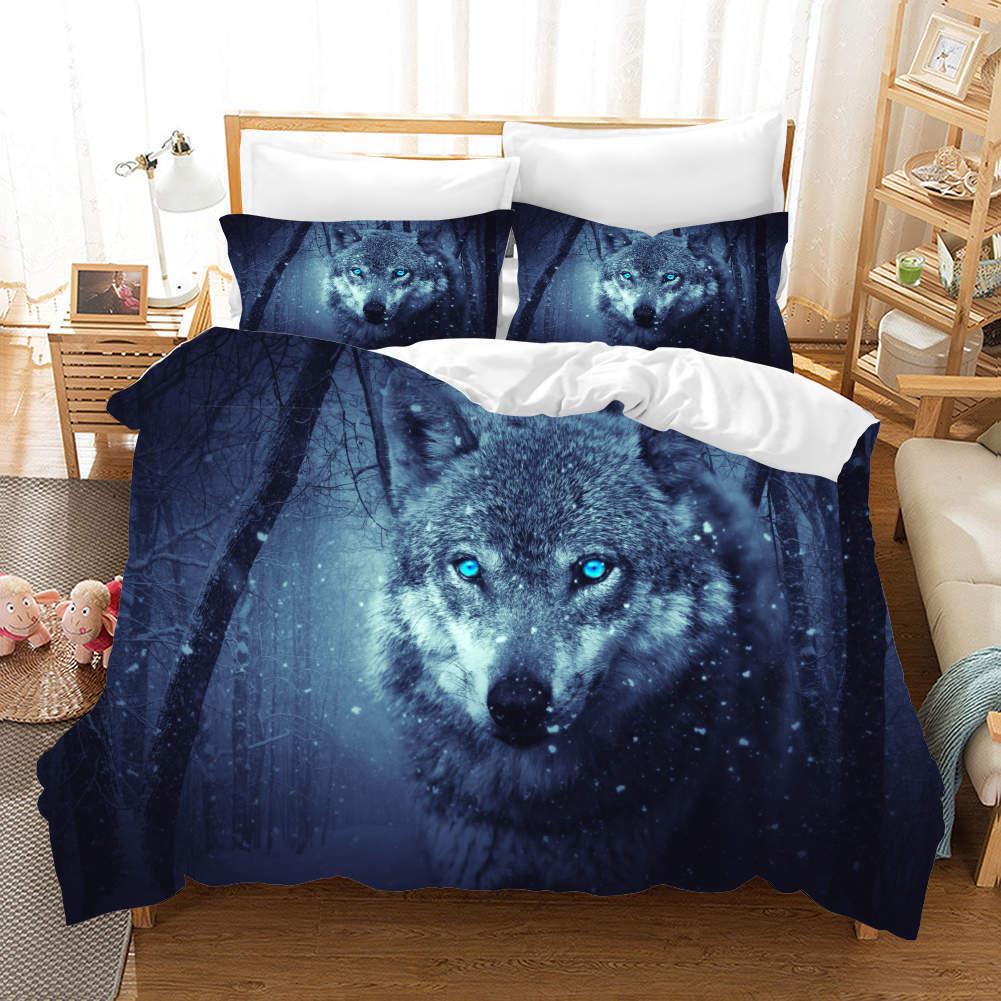 Blau Eye Wolf Ice 3D Printing Duvet Quilt Doona Covers Pillow Case Bedding Sets