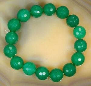 Natural-10mm-Faceted-Green-Emerald-Round-Gems-Beads-Bracelet-7-5-034-AA