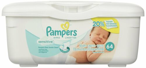 Sensitive with Touch of Milk Essentials Pampers Baby Wipes Tub 64 Wipes//Tub