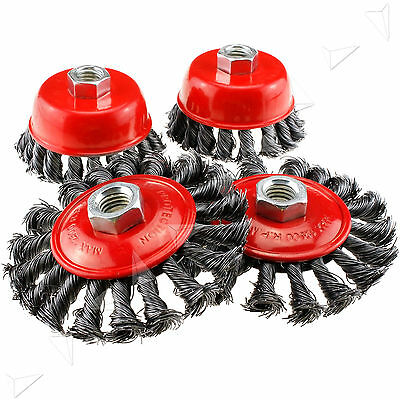"4 Pcs 3"" 4"" Twist Knot Wire Wheel Cup Flat Brush Angle Grinder M14 Screw Set"