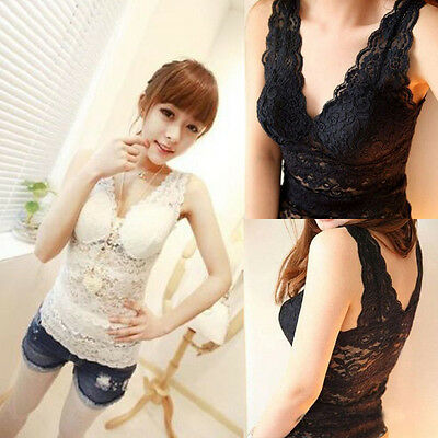Women's Sexy V-Neck Sleeveless Low-Cut Lace Soft Slim Vest Casual Tops Blouse