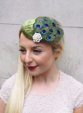 Olive Green Peacock Feather Fascinator Hair Clip 1940s Hat Races Cocktail 2629