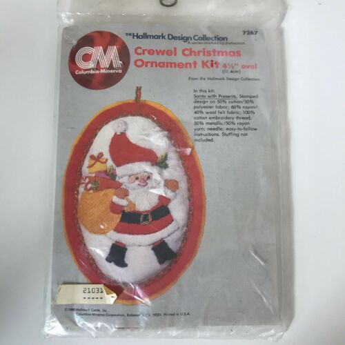 VTG Hallmark Columbia Minerva Christmas Ornament Crewel Kit Santa #7267 1981