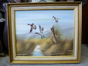 Retro-Vintage-kitsch-framed-Oil-on-board-Flying-ducks-painting-C-Walker-1960-60s