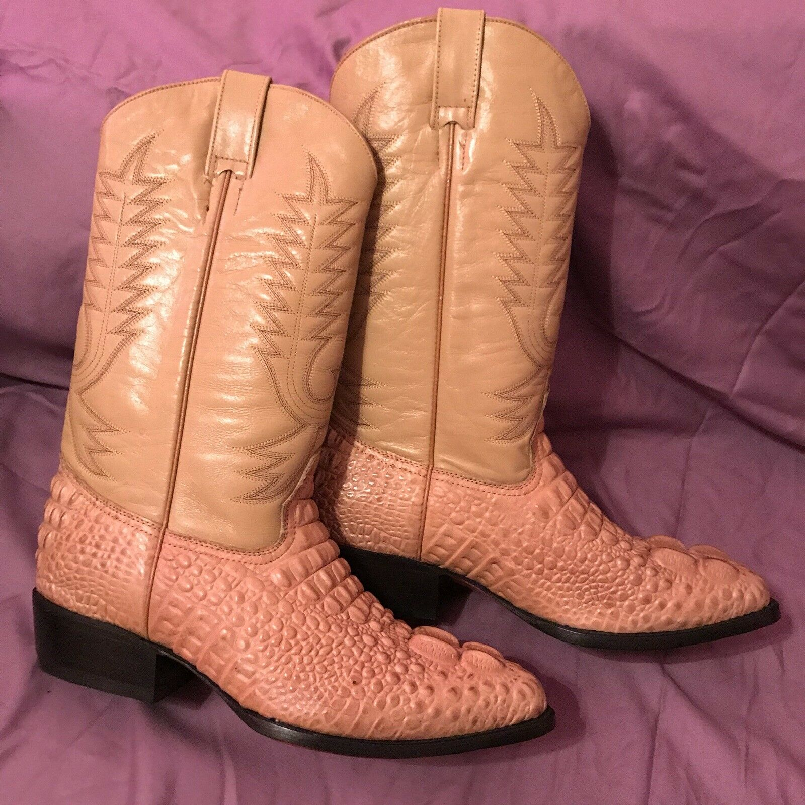 JEVER Cowboy Western Leather Boots Light Brown Gator Tail Style Size 11 EE US