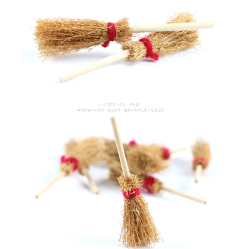 20pcs Mini Broom Decorations with Red Rope Creative Prop for Kids