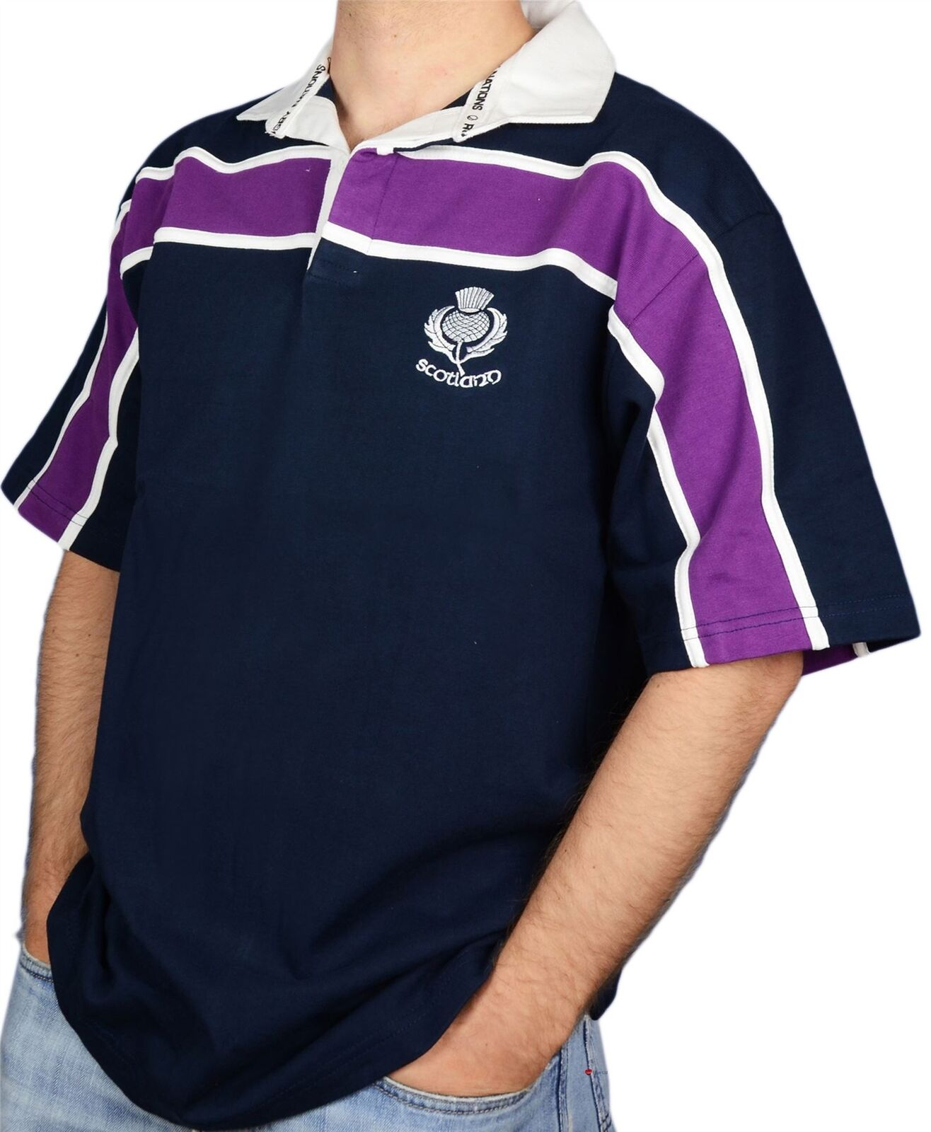 Camicia da uomo Scozzese Viola Rugby Rugby Rugby A Righe Cardo Logo Manica Corta Blu Navy 2X-LARGE f9d218