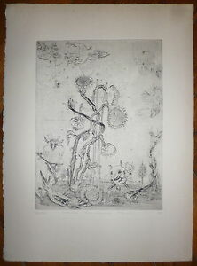 Mordecai-Moreh-gravure-originale-signee-expressionnisme-fantastique-Israel
