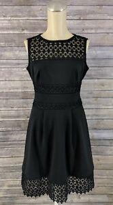 Lauren-Ralph-Lauren-Womens-Dress-Petite-Lace-Trim-Fit-Flare-Black-Size-0