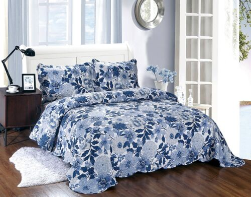 3 Piece Quilted Bedspread Set Embossed Patchwork Pillowshams Single//Double//King
