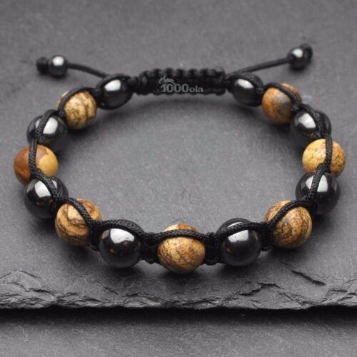 Haut gamme Bracelet Style Shamballa Homme//Men/'s perles Pierre gemme Jaspe P198