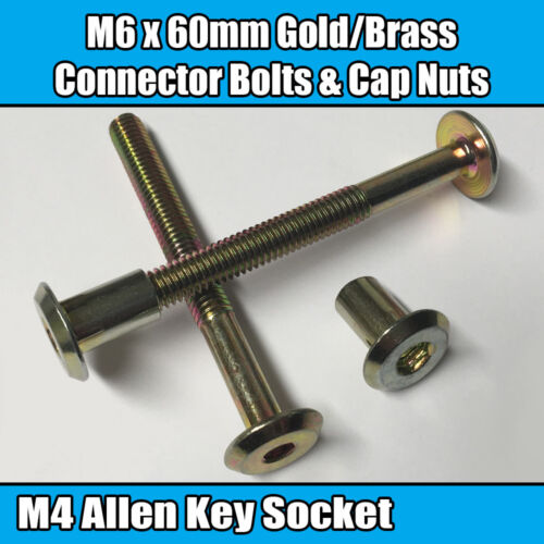 M6 x 60mm Gold Brass Yellow Furniture Connector Bolts With Cap Nuts Joint Fixing