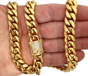 c19e9aa499e42 Details about 18K Gold GP Stainless Steel Miami Cuban Link Chain Diamond  Clasp Lock 12mm 30
