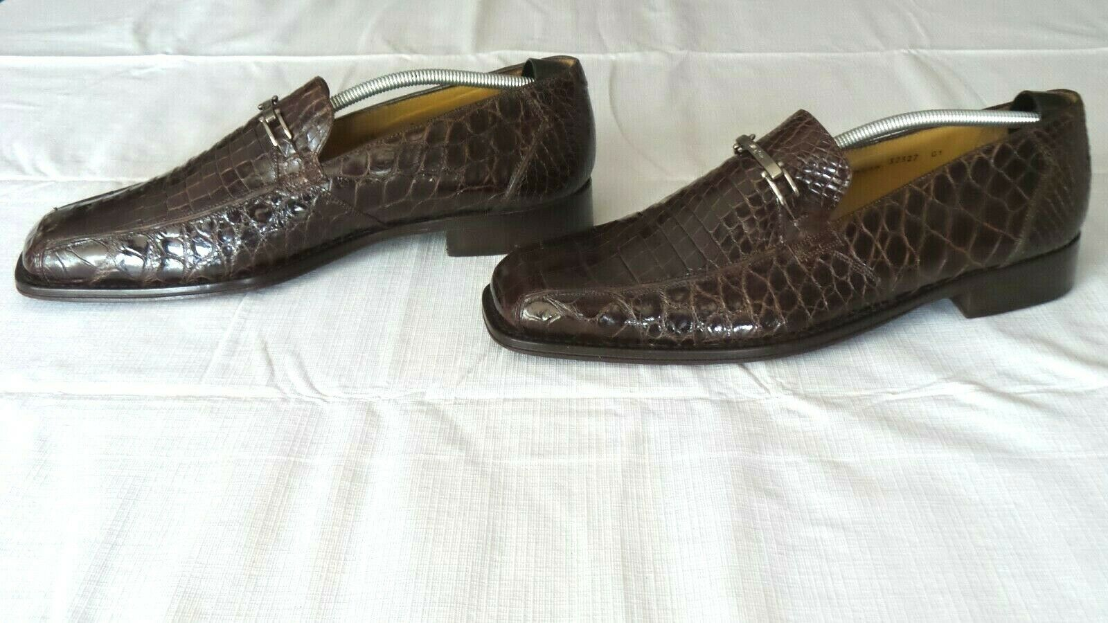 NICE   1000 MEZLAN PLATINUM marrón Genuine Crocodile Alligator Loafers botas zapatos