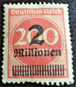 Rare Weimar Republic German Empire 1923 Overprinted Stamp 2 mill on 200 mark