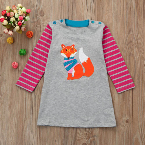 Toddler Girl Kid Spring Clothes Horse Stripe Print Princess Party  Dress Soft UK